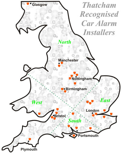 Map of Thatcham Recognised Installers for Car Alarms Map Installer on